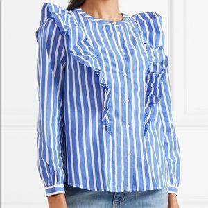 J.CREW ruffled striped shirt